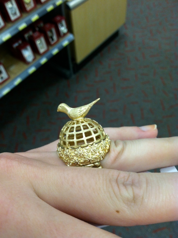My oh my, if a gentleman ever proposed to me with this ring, why, I'd just have to accept!